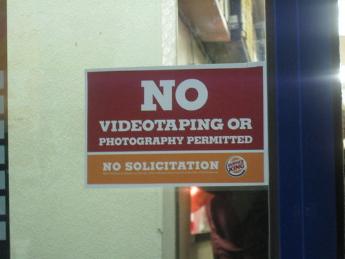 No Photography in the Burger King Drive Thru