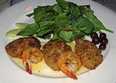 Irene's Cuisine, New Orleans: Pannéed Oysters with Grilled Shrimp (SazeracLA) Tags: new food dinner cuisine italian orleans neworleans shrimp fresh raspberry oysters dining grilled blanc spinach creole irenes beurre vinaigrette panneed