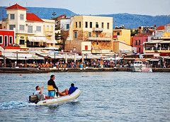 Cruisin' the Harbor - Hania, Crete (AL Gator) Tags: harbor boat greece crete hania chania