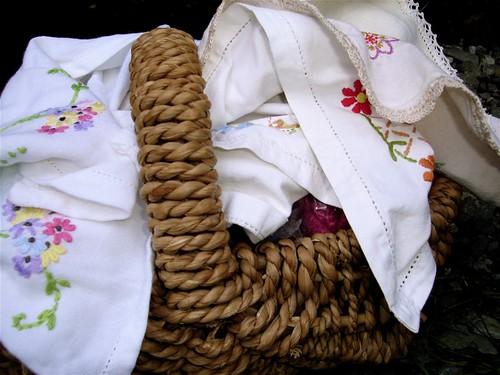 Vintage Linens Basket