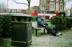 Break in a square (sebiphoto) Tags: loneliness lonely tramps clochards