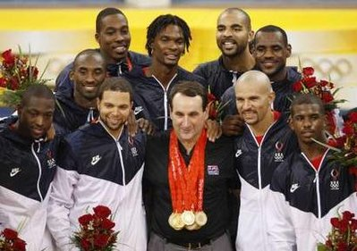 USA Basketball Gold Medal Winners - Kobe Bryant, LeBron James, Carmelo Anthony, Carlos Boozer, Jason Kidd, Dwyane Wade, Deron Williams, Chris Paul, Dwight Howard, Chris Bosh, Michael Redd with Coach K