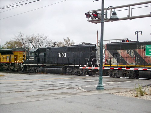 Former Illinois Central locomotive. CN transfer train. La Grange Park Illinois. November 2007. by Eddie from Chicago