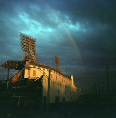 Tiger Stadium Deconstruction (paulhitz) Tags: sunset abandoned 120 film rain mediumformat square lost hope rainbow baseball michigan tiger detroit grain tigers grainisgood tigerstadium deconstruction mlb detroittigers felica vredeborch vredeborchfelica paulhitz tigerstadiumdeconstruction goodgrainvy