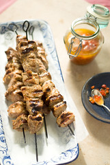 skewers (mwhammer) Tags: blue food orange brown portugal wet succulent juicy wholefoods reflective vinegar peppers summertime oliveoil grilled dripping savory piripiri melina styling skewers moist