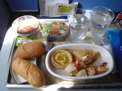 SaudiAirlines Meal (SaudiSoul) Tags: food cup water plane bread salad airline meal saudi         saudiairlines