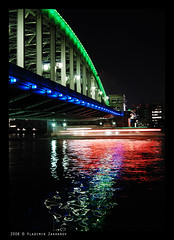 Kachidoki-bashi bridge at night (Vladimir Zakharov (www.vzphoto.co.uk)) Tags: japan tokyo kachidokibashi kachidokibashibridge tokyonight nohdr nothdr nikond80 gettyimagesjapan12q2
