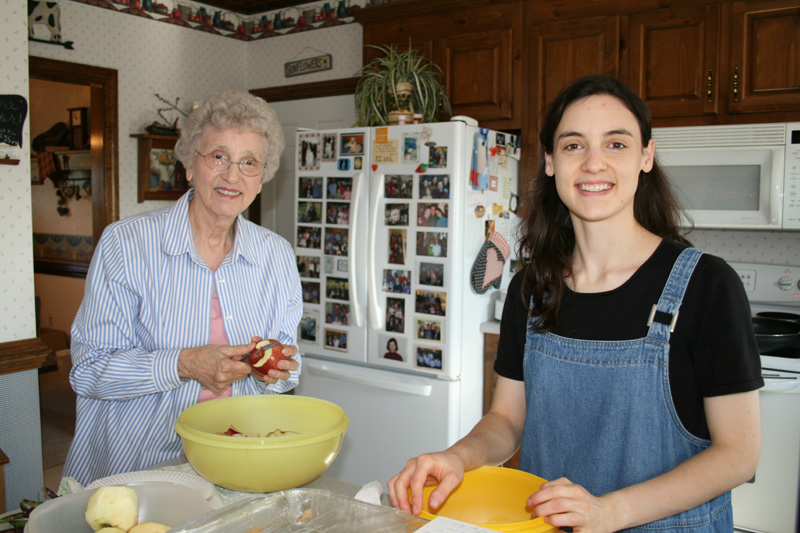 Granny and Hannah in the kitchen