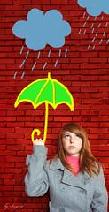 autumn rain. (Ingrid Photography) Tags: pink blue autumn red people color verde green ingrid me colors rain yellow azul wall umbrella self myself cores eu explore amarelo gilr garota szn es parede fal ingus sz sznek lny tgla eserny ingridregos ingridregs