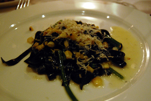 Black Tagliatelle with Charred Corn and Castelmagno