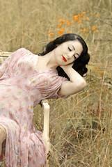 Vintage Lullaby (raspberryroses) Tags: blue summer portrait girl beauty fashion vintage germany fun deutschland model glamour women sleep makeup icon retro 1950s dreams frau 2008 pinup