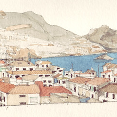 Altea Detail 1 (Flaf) Tags: houses roof sea costa white mountains colour window water pencil rocks mediterranean drawing fenster roofs blanca dach antenna huser weise dcher mittelmeer