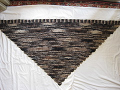 Grans Shawl being blocked
