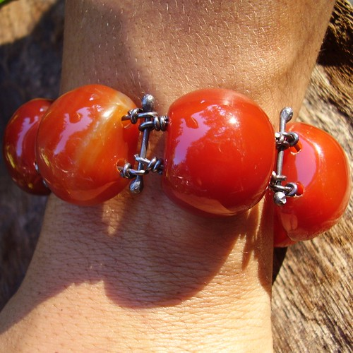 Red Agate And Sterling Silver Bracelet