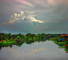 """Pasig River"" (Vic de Vera) Tags: travel blue trees sky green history nature water ecology beautiful clouds port river season de photography photo image country philippines transport explore route spanish manila filipino industial pasig polluted ilog city body water river water aplusphoto flow vic vera pasig"