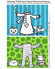 Halloween TP Roll Action Figures: Wizard and Mummy Template Preview