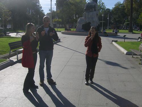 Ania, Robert, and Marga eating ice cream cones