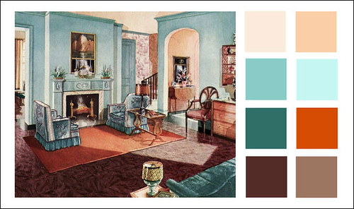 1929 Armstrong Linoleum - Turquoise Living Room