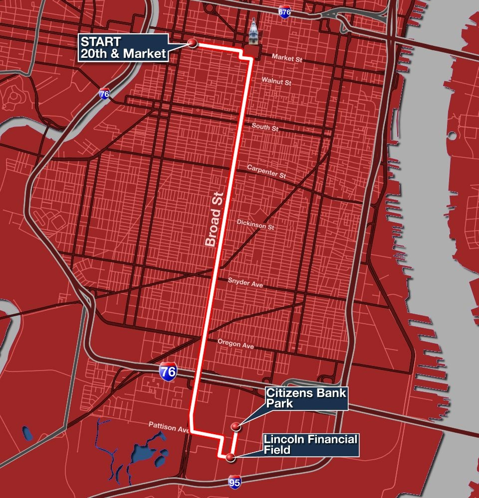 Phillies Parade Route Map