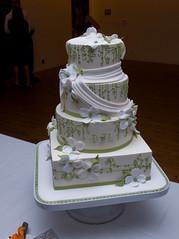 wedding cake from above (kenyee) Tags: sf sanfrancisco california wedding david cake dinner october reception cutting 2008 laurea