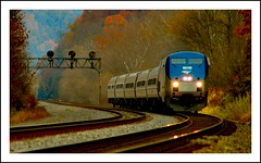 The Pennsylvanian (Images by A.J.) Tags: railroad autumn light fall train lights pennsylvania rail railway trains loveit pa signals amtrak passenger genesis ge signal position  ardara  p42   pennsylvanian amtk p42dc amtk045
