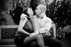 """Na gyere, adj egy puszit!"" / ""Come on, give me a kiss!"" (Balzs B.) Tags: boy blackandwhite bw woman man love girl laughing fun happy funny couple pad happiness bank laugh pr fi vicces lny boldog boldogsg nevet nevets jkedv"