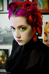Serious Hair (exoskeletoncabaret) Tags: red selfportrait hair eyeballs updo pincurls libbybulloff