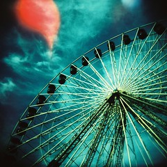 looking up (benbenbenbenben) Tags: sky 120 wheel clouds holga xpro lomography crossprocessed ride ferris funfair explored kodakektachromee200