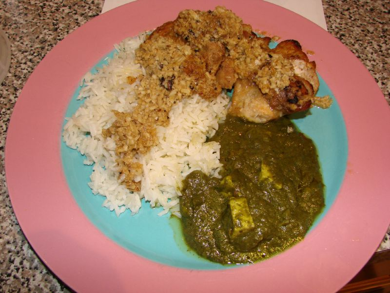 chicken curry with Palak Paneer