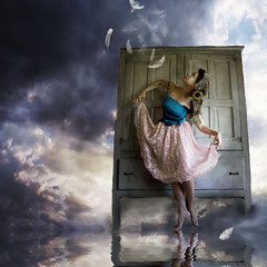 I have made us a Ballroom of water (Daneli) Tags: pink blue portrait sky woman selfportrait art me water girl beautiful clouds photoshop self canon hope dance dress artistic florida feathers dana surreal fantasy wardrobe glassy verobeach daneli overtheexcellence alarecherchedutempperdu