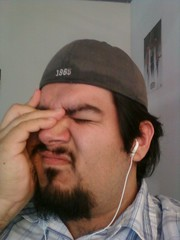 I have a case of the mondays (NoNo Joe) Tags: cameraphone selfportrait me apple work goatee samsung mondays officespace rant earbuds houstonastros sanantoniospurs