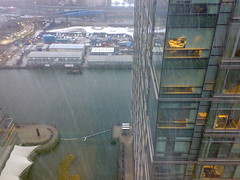 Snowing at Canary Wharf