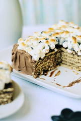 Chocolate-Graham Cracker Refrigerator Cake (3liz4) Tags: dessert chocolate pudding marshmallows grahamcracker foodimage