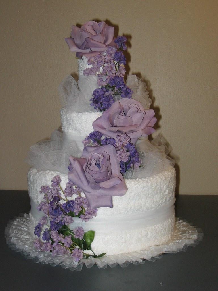 purple wedding towel cake caketini tags wedding cake bridalshower weddingcake towel housewarming towelcake