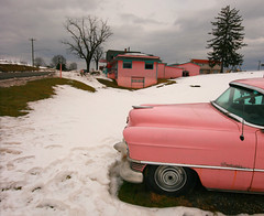 Pink Cadillac Motel (steverichard) Tags: auto pink winter usa snow cold building car america vintage hotel virginia photo foto image lexington motel roadtrip cadillac va vehicle guest roadside steverichard srichardimagescom