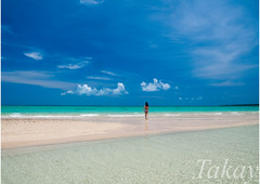 Girl in the blue (takay) Tags: sea seascape beach girl japan landscape bluesky okinawa  beautifulscenery  taketomijima yaeyama bathingbeauty emeraldgreen   hamashima takay