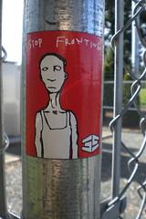 Stop Fronting (djwudi) Tags: seattle usa graffiti washington sticker north casio exilim 35th northgate skateshop exz77