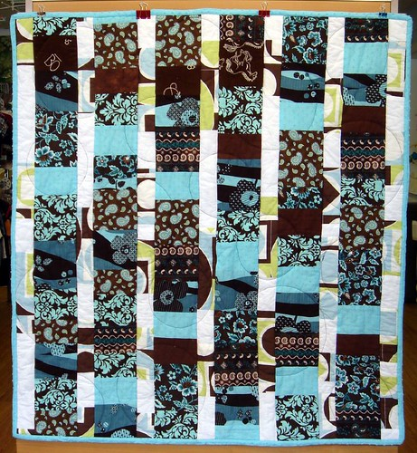 brown blue quilt