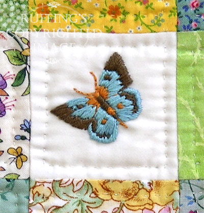 Handmade Hand-embroidered Doll Quilt by Elizabeth Ruffing