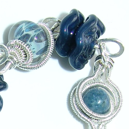 I've got the blues: Denim lampwork bracelet