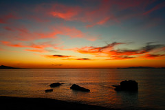 looking to the sky (esther**) Tags: sunset red sea sky colors clouds island bravo rocks greece rhodes