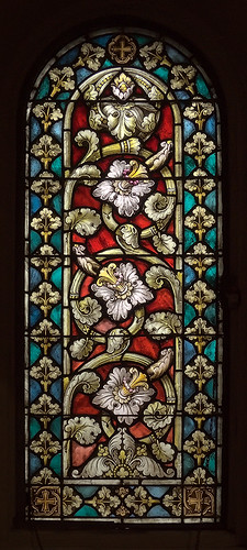 Saint Anthony of Padua Roman Catholic Church, in Saint Louis, Missouri, USA - floral stained glass window