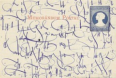 memorandum postal (t. van gieson) Tags: old blue handwriting vintage wonderful antique postcard stamp font postal lettering script memorandum