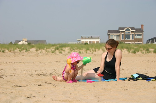 Anna and Mommy playing on the beach