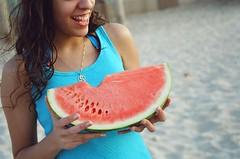 (aragonzo) Tags: summer beach smile sand kodak nophotoshop watermellon gold200 sapir