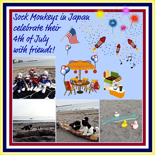 Sock Monkeys in Japan celebrate their 4th of July with friends! (by martian cat)