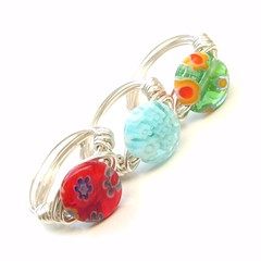 Millefiori Ring Trio (Luttrell Studio) Tags: canada metal children handmade jewelry canadian ring jewellery indie bead handcrafted artisan sterlingsilver wirewrapped millifiori