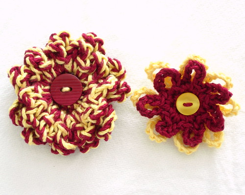 Crochet Flower and Vintage Button Gryffindor House Pride Brooches