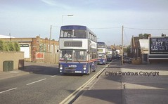 The weekday evening race back to garage, Wolverhampton, 1997. (Lady Wulfrun) Tags: travel bus public buses garage transport april 1997 westmidlands wolverhampton metrobus twm mcw 2494 3081 everready guymotors pog494y f81xof