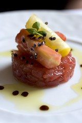Heirloom Tomatoes with Big Eye Tuna and Olio Verde